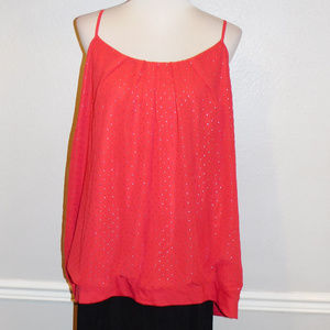 26/28 Lane Bryant Red Silver Dot Camisole Top NWOT